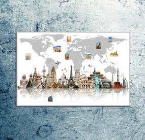 Магнитная доска Карта мира с громкими шедеврами