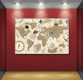 Магнитная доска 40Х60 см карта мира