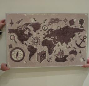 Магнитная доска на стену карта мира