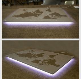 Доска для магнитиков с подсветкой карта мира