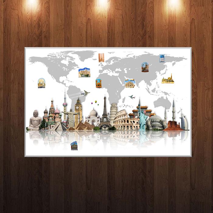 Доска для магнитиков Карта мира с громкими шедеврами